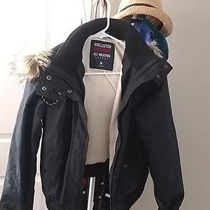 Hollister black warm jacket great condition
